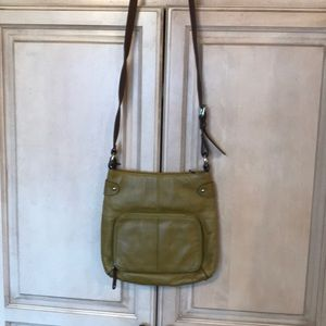 Olive leather Tignanello organizer handbag